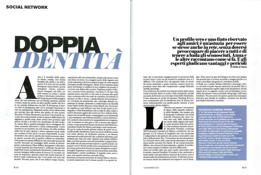 D - La Repubblica mi ha intervistato sul fenomeno Finstagram, mai sentito parlare?